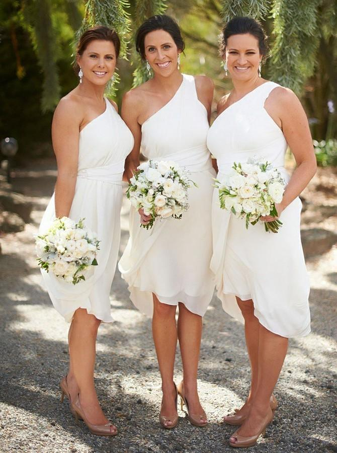 One-Shoulder Knee-Length Ruched Chiffon Bridesmaid Dresses PB93