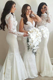 Long Sleeves High Neck Lace Mermaid Bridesmaid Dresses PB90