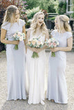 Round Neck Floor-Length Short Sleeves Sheath Bridesmaid Dresses PB91