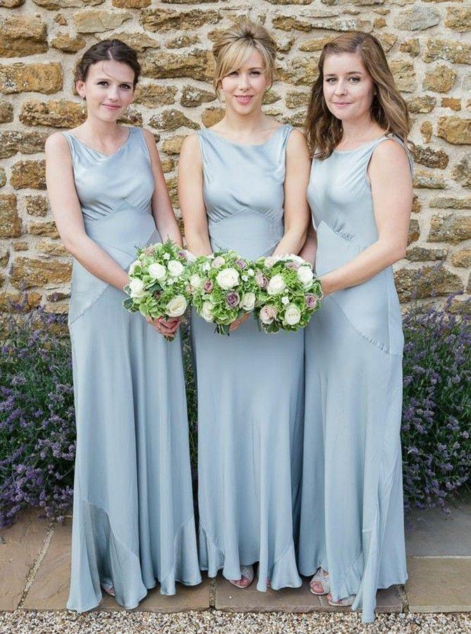 Sheath Round Neck Sleeveless Dusty Blue Long Bridesmaid Dresses PB87