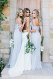 Off-Shoulder Floor-Length Dusty Blue Chiffon Long Bridesmaid Dresses PB86