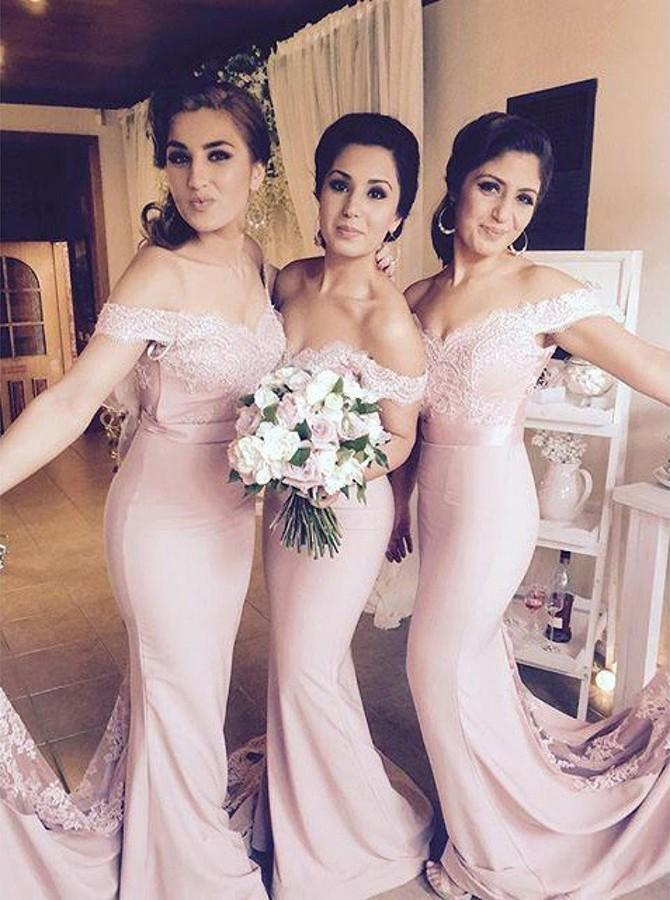 Off-Shoulder Low Back Blush Mermaid Bridesmaid Dresses With Lace PB37