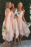Spaghetti Straps V-neck Asymmetrical Lace Short Pink Bridesmaid Dresses PB165