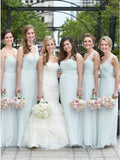 A-Line One-Shoulder Light Blue Long Bridesmaid Dresses with Ruched PB01