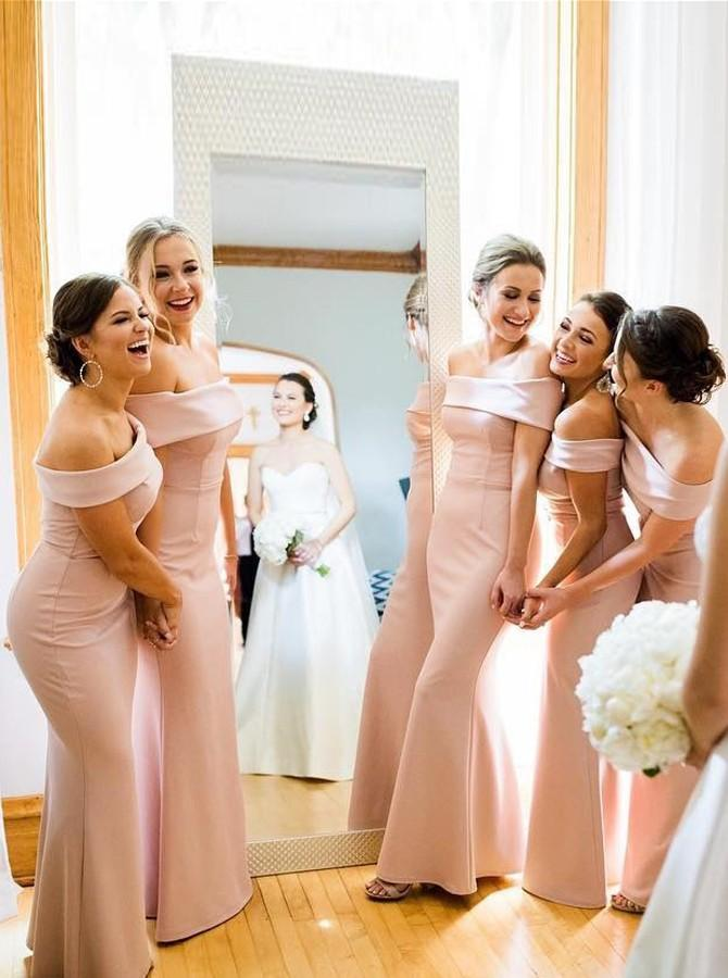 Off Shoulder Mermaid Floor-Length Pink Satin Bridesmaid Dresses PB04
