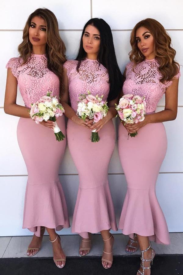Lace Cap Sleeves Hi-Low Asymmetry Pink Mermaid Bridesmaid Dresses PB78