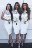 Jewel Lace Cap Sleeves White Sheath Knee-Length Bridesmaid Dresses PB77