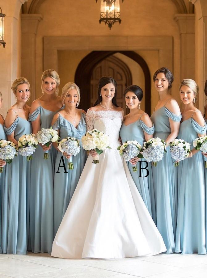 Spaghetti Off Shoulder Light Blue Chiffon Bridesmaid Dresses with Ruffles PB25