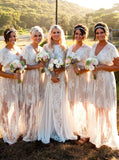 A-Line V-Neck Ivory Boho Lace Bridesmaid Dresses With Cap Sleeves PB24