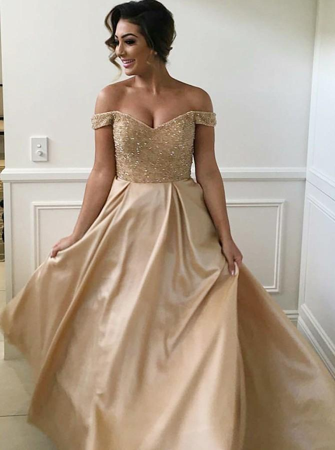 Off Shoulder Beading Bodice Long Bridesmaid Dresses with Pockets PB19