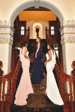 Spaghetti Straps Mermaid Prom Dress Sequins Bridesmaid Dresses With Cowl PB72