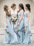 Sheath round neck lace short sleeves light blue bridesmaid dress gb364