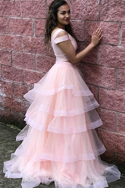 Buy Princess Sweet 16 Dress With Layered, Two Piece V-neck Tulle Pink Prom Dress MP753