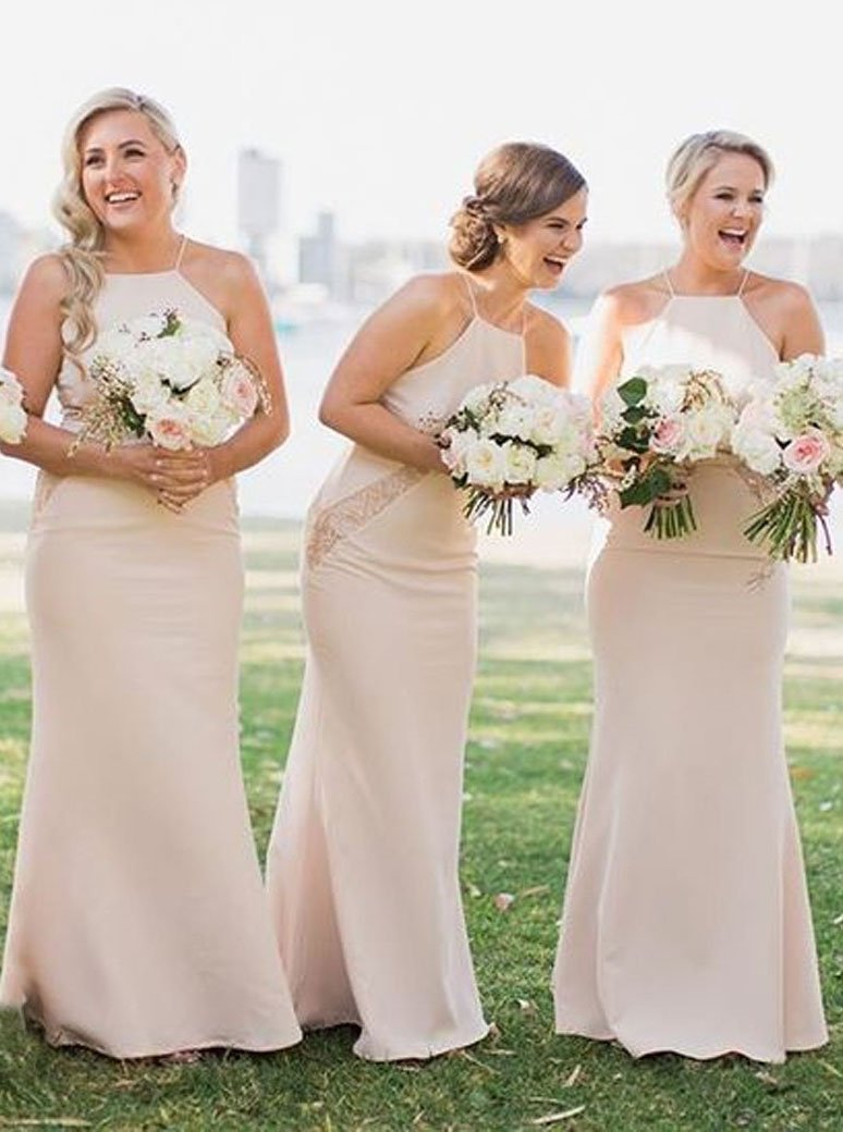 Simple Square Sheath Pearl Pink Bridesmaid Dresses with Lace PB52