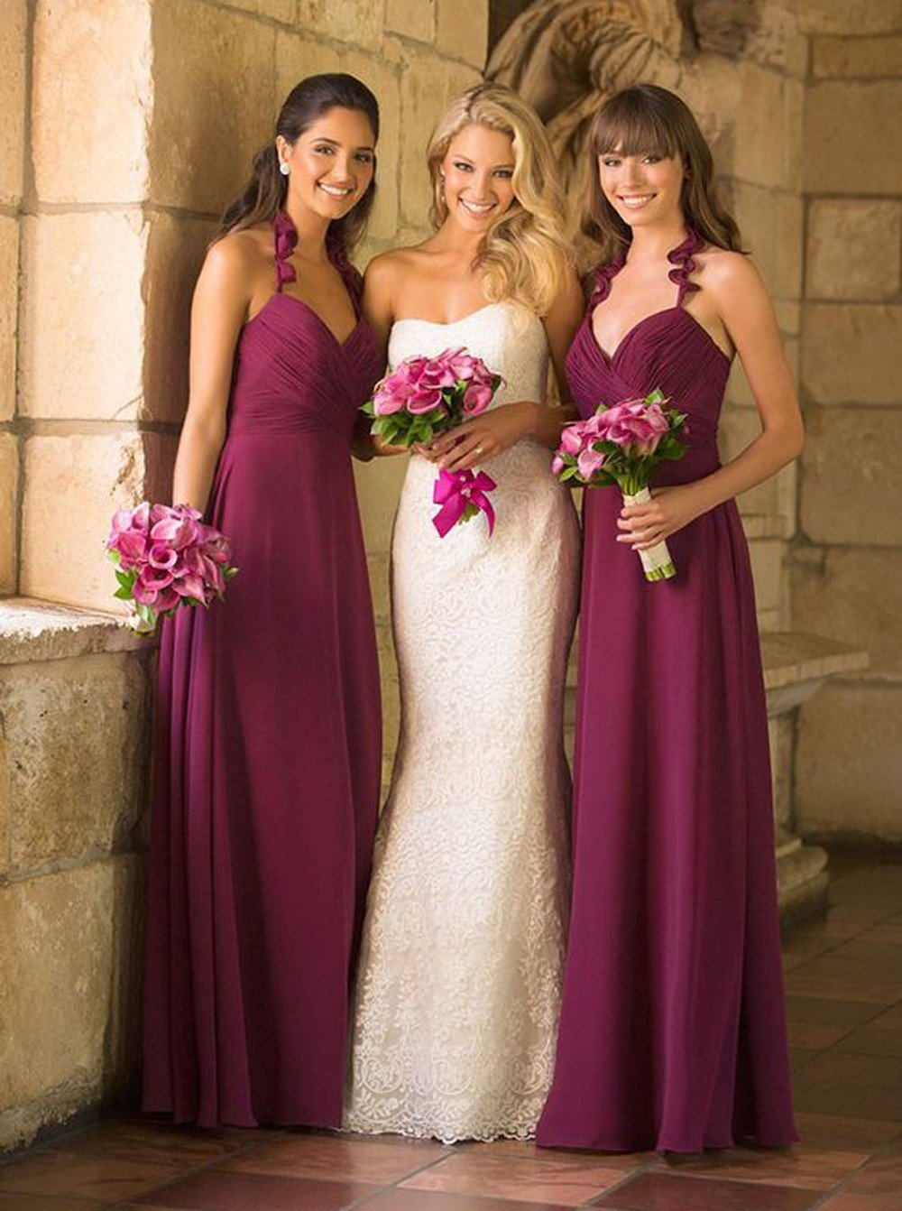 Spaghetti Straps V-neck Fuchsia Long Bridesmaid Dresses With Ruched PB68