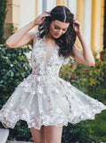 A-Line Deep V-neck Tulle Short Homecoming Dresses With Appliques GM275