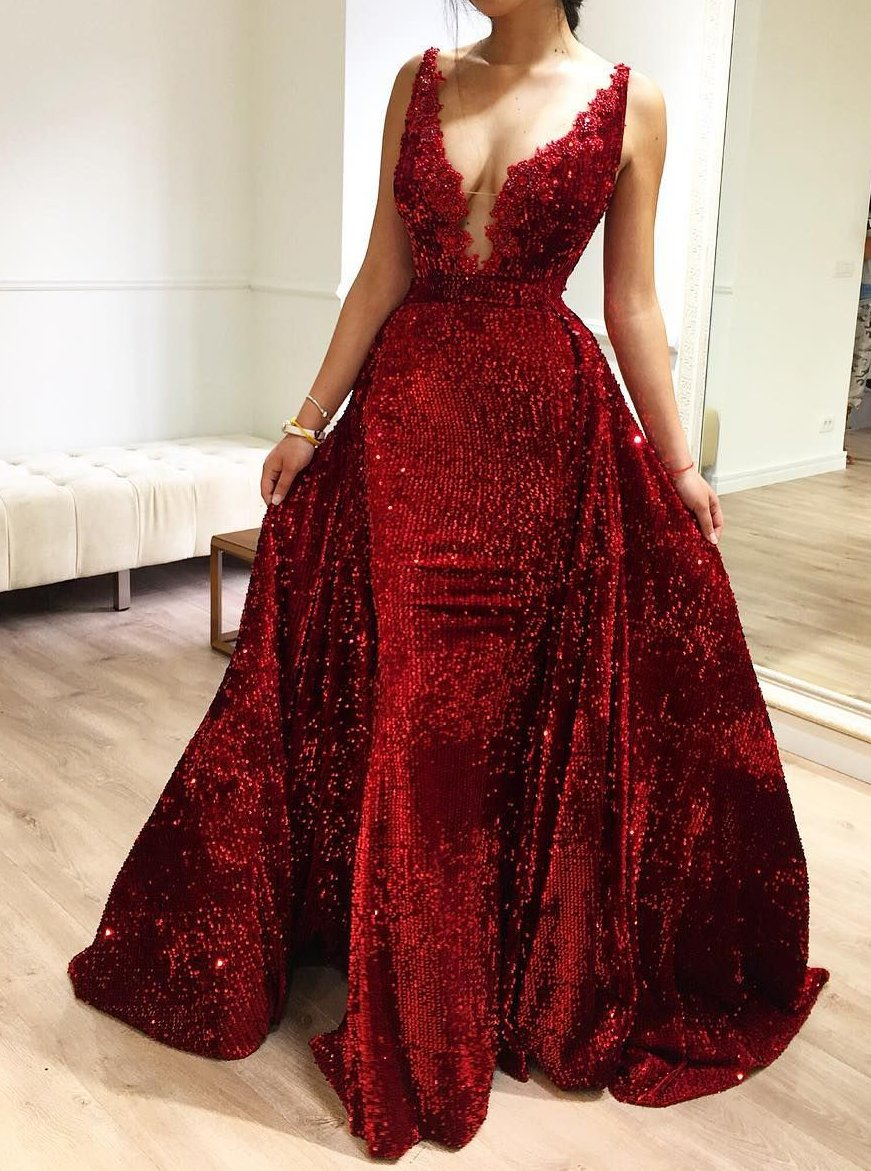 2 In 1 V-neck Mermaid Burgundy Prom Dress, Pageant Dress with Detachable Train MP230
