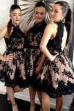 Halter A-Line Black Lace Appliques Open Back Short/Mini Bridesmaid Dresses PB189