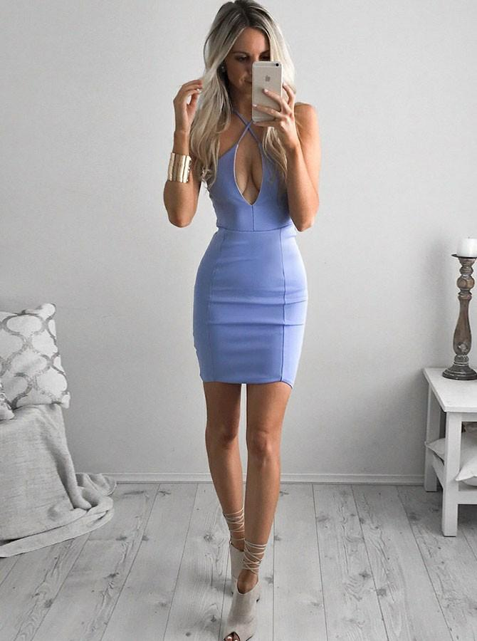 Sexy Cross Neck Cut Out Bodycon Short Party Dresses GM261