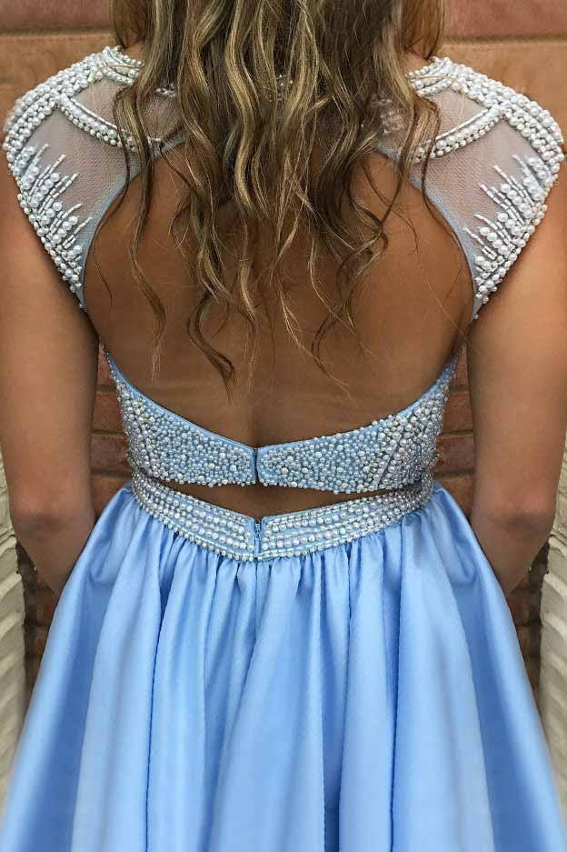 Blue Open Back Homecoming Dress with Pocket, Beading Bodice Short Prom Dresses GM257