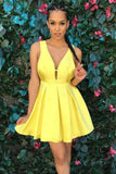 Simple Yellow V-neck Satin Pleat Short Prom Homecoming Dress GM256