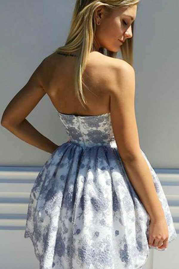 Sweetheart Lace Appliques Short Prom Party Dress with Pleats GM249