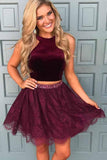 Chic Two Piece Halter Beading Waist Homecoming Dress with Lace Skirt GM247