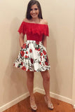 Ruffles Off the Shoulder Floral Print Homecoming Party Dress with Pockets GM240