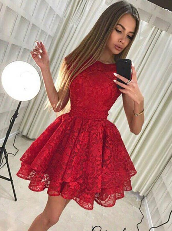 Jewel Lace Pleat Red Homecoming Dress with Tiered Skirt GM236