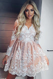 A-line Long Sleeves Short Prom Dress Lace Homecoming Dresses GM177