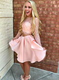 Two Piece Pink Short Prom Dress Lace Bodice Long Sleeve Homecoming Dresses GM171