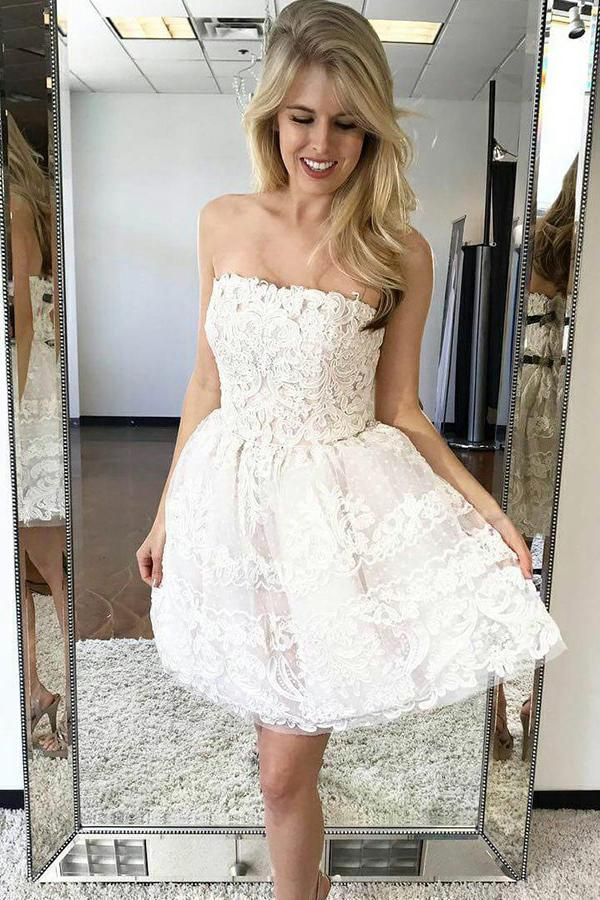 Charming Ivory Strapless Homecoming Dresses Lace Short Party Dress GM149
