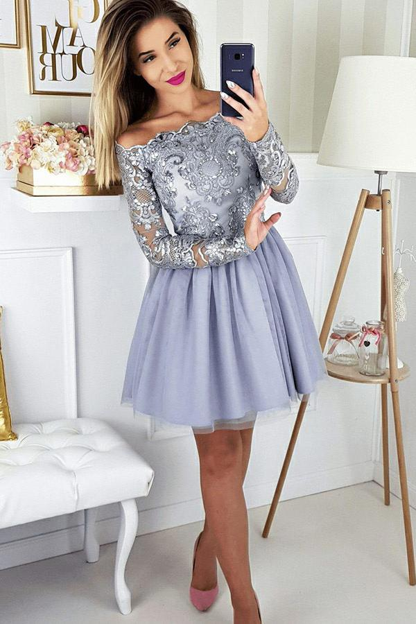 Off-Shoulder Long Sleeves Appliques Tulle Lavender Homecoming Dress GM148