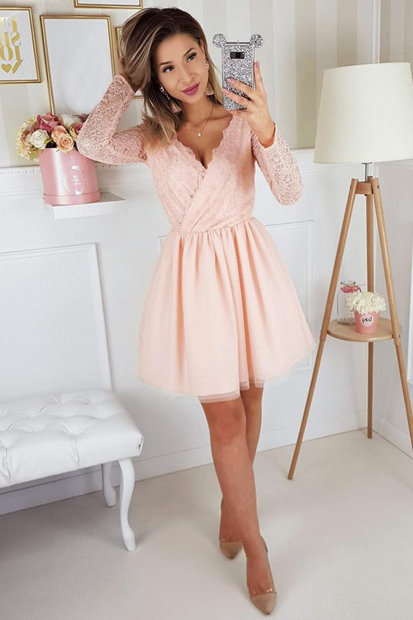 A-line V-neck Lace Long Sleeves Short Homecoming Party Dress GM137