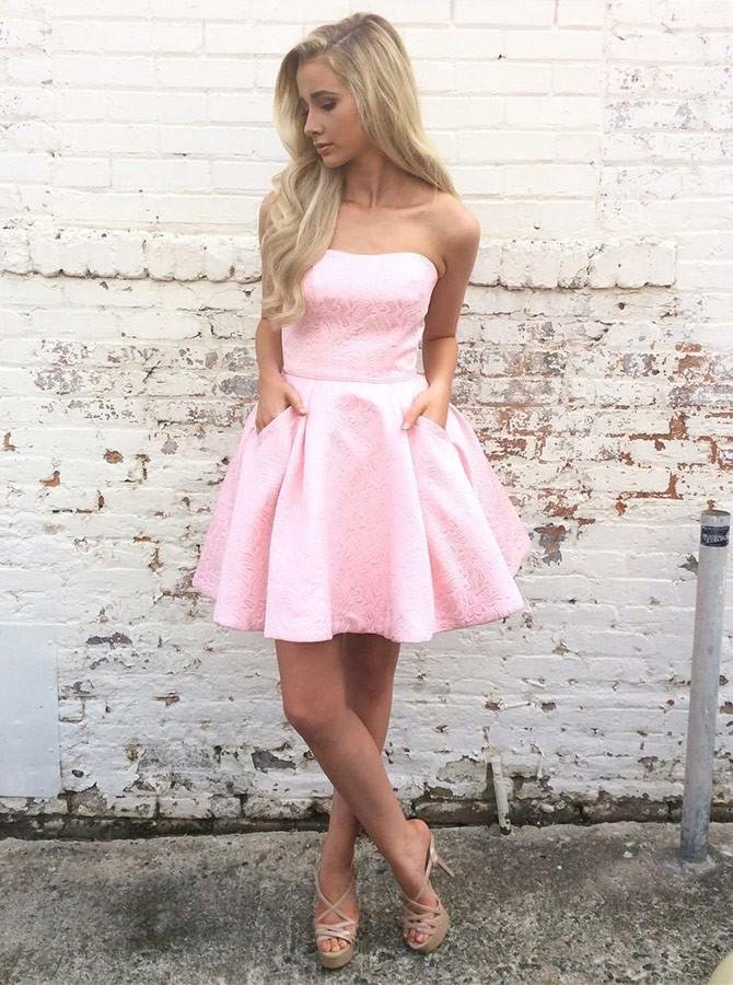 Strapless Pink Short Prom Dresses Homecoming Dress with Pockets GM127