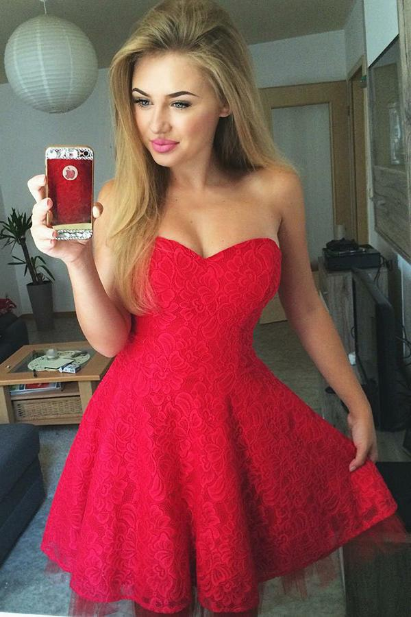 Cute A-line Lace Red Pleats Sweetheart Homecoming Dress GM129