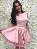 Jewel Pink Short Prom Dresses Satin Homecoming Dress With Tiered Skirt GM123