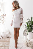 One-Shoulder Lace Long Bell Sleeves Layered Bodycon Party Dress GM125