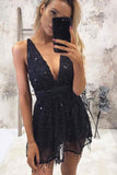 Sparkly V-neck Sequins Navy Blue Short Homecoming Party Dress GM116