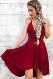 Spaghetti Straps V-neck Burgundy High Low Short Prom Homecoming Dress GM113