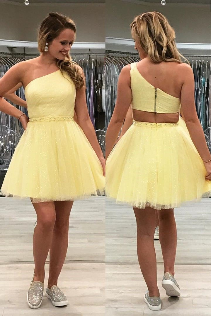 Tulle One Shoulder Sparkly Homecoming Dress, Chic 8th Graduation Dress GM100