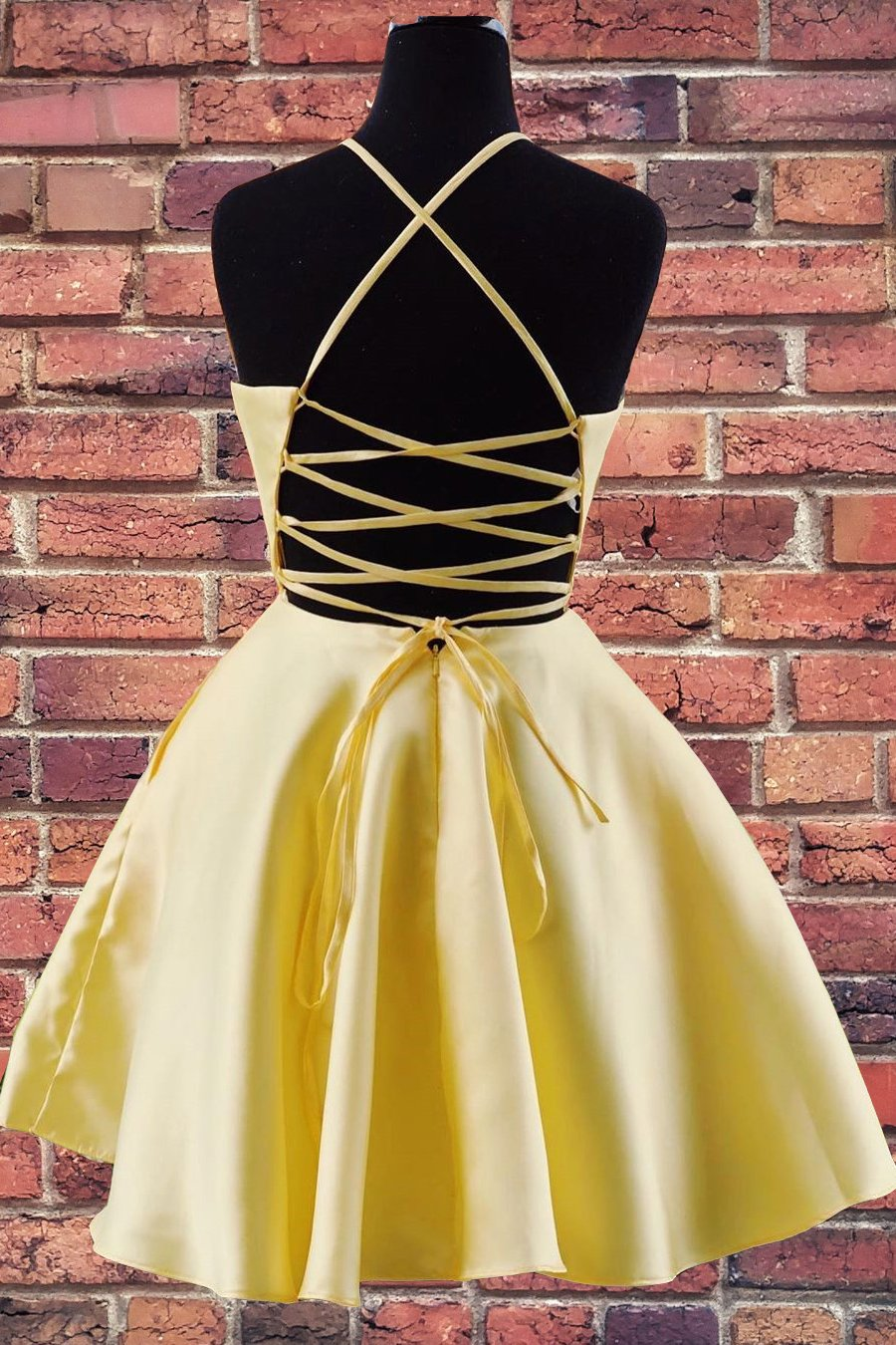 A-line Halter Yellow Homecoming Dress with Embroidered Pockets GM96