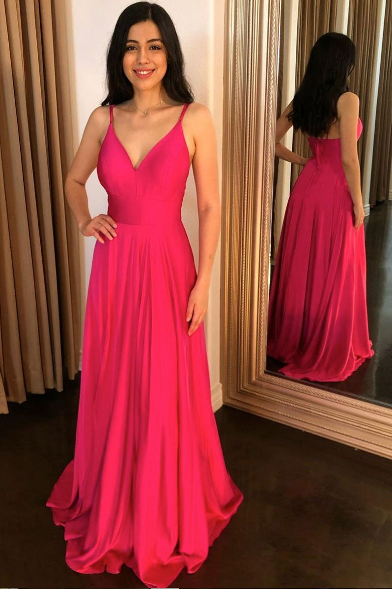 Simple Fuchsia Satin Long Prom Dress, A-line V-neck Formal Gown MP1226
