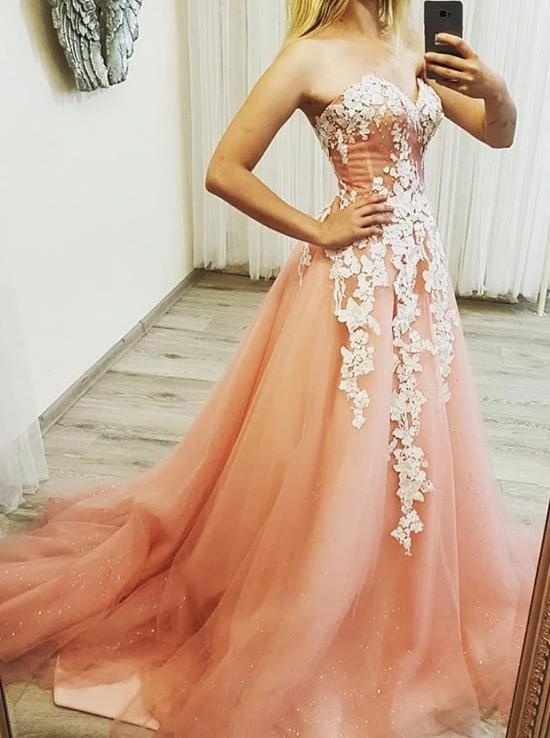 Sparkly Sweetheart Neck Tulle Long Prom Dresses With Appliques MP173