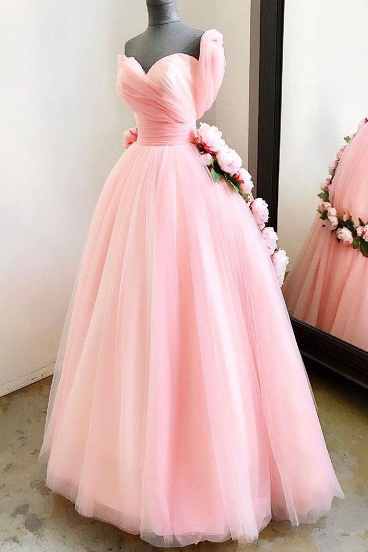 Princess Sweetheart Long Prom Dress, Pink Sweet 16 Dress With Handmade Flowers MP184