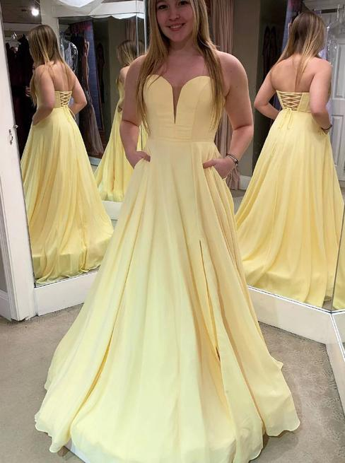 Daffodil sweetheart strapless satin long prom dress with pockets mg299