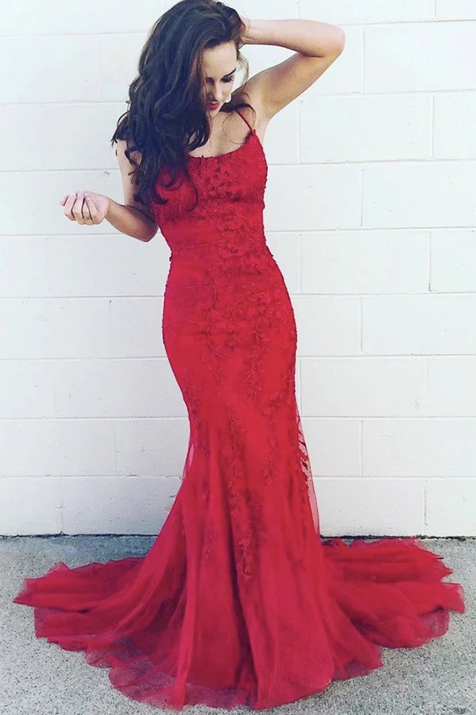 Mermaid lace long prom dress burgundy tulle evening dress mg162