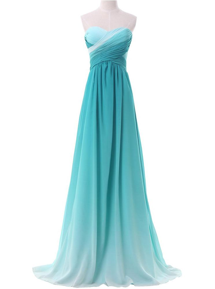 Chiffon Sweetheart Ombre Long Prom Dresses Formal Party Gown MP37