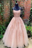 Spaghetti Straps Tulle Sleeveless Long Prom Dresses With Appliques MP196
