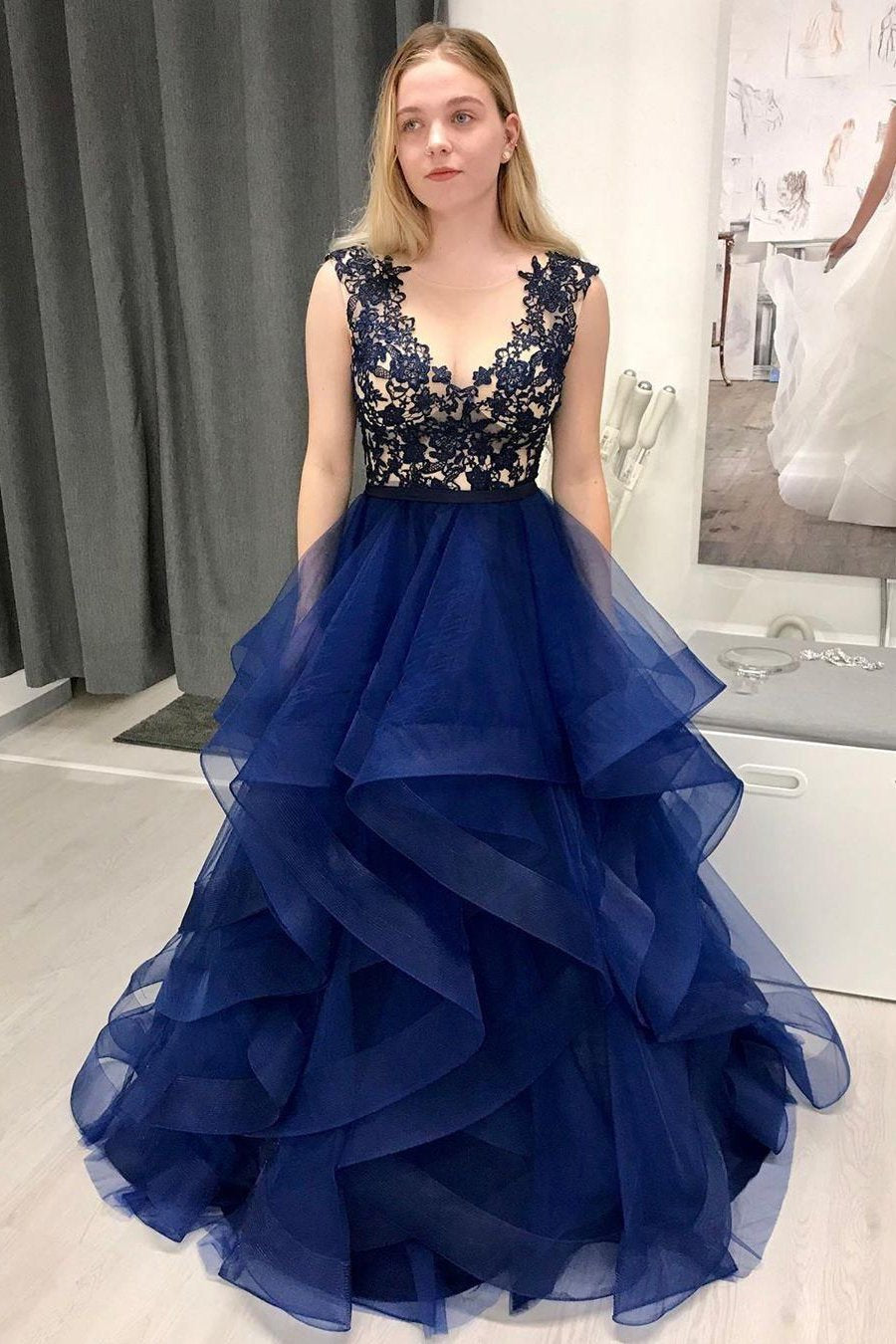 Prom dresses long sheer neck ruffles appliques illusion sweet 16 quinceanera dress mg195